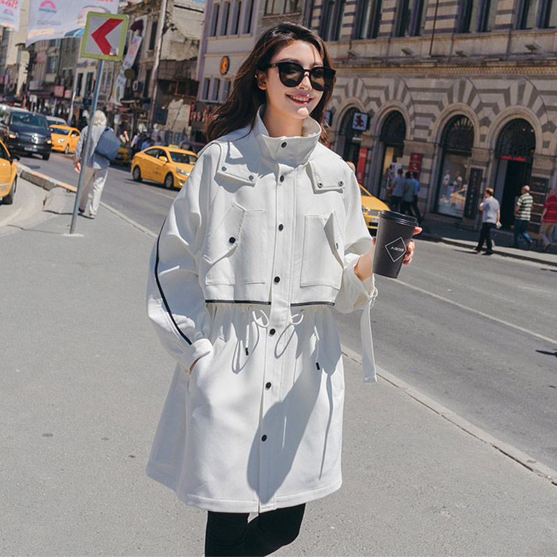 Women Solid Medium Long   Trench   Black White Female Full Sleeve Hooded Coat Adjustable Waist Loose Overcoat Autumn Street Casual