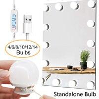 Espejo de maquillaje profesional con luz LED y 14 bombillas desmontables, espejo cosmético con USB y luz para tocador de Hollywood
