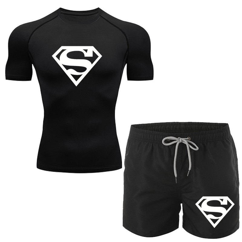 2021 low price sale compression men's T-shirt fitness running T-shirt short sleeve jogging T-shirt + fitness Shorts Set