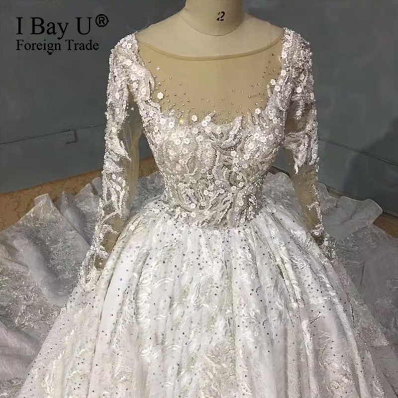 Image 3 - Real Work Wedding Dress 2020 Luxury Full Beading Wedding Dresses Long Sleeves New Bridal Dress noviasWedding Dresses   -