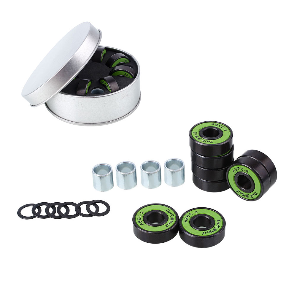 8pcs Skateboard Accessories Parts Bearings With Washer Spacer Box Kit Set Black