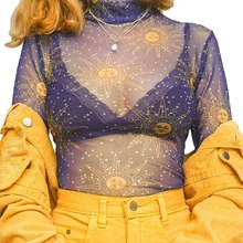2020 T-shirt Women Sexy Mesh See-through Top Short Slim Chiffon Half-neck Collar Long Sleeve Perspective T-shirt(China)