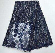 Piękny granatowy niebieski afrykański koronkowy materiał 2020 koronka wysokiej jakości nigeryjski tiul koronkowy tkanina na sukienkę francuska koronka na siateczce