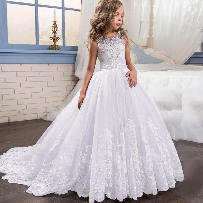 2021 летнее платье для девочек, белые платья подружки невесты для детей, детское длинное платье принцессы, вечернее свадебвечерние платье 14 10 ...