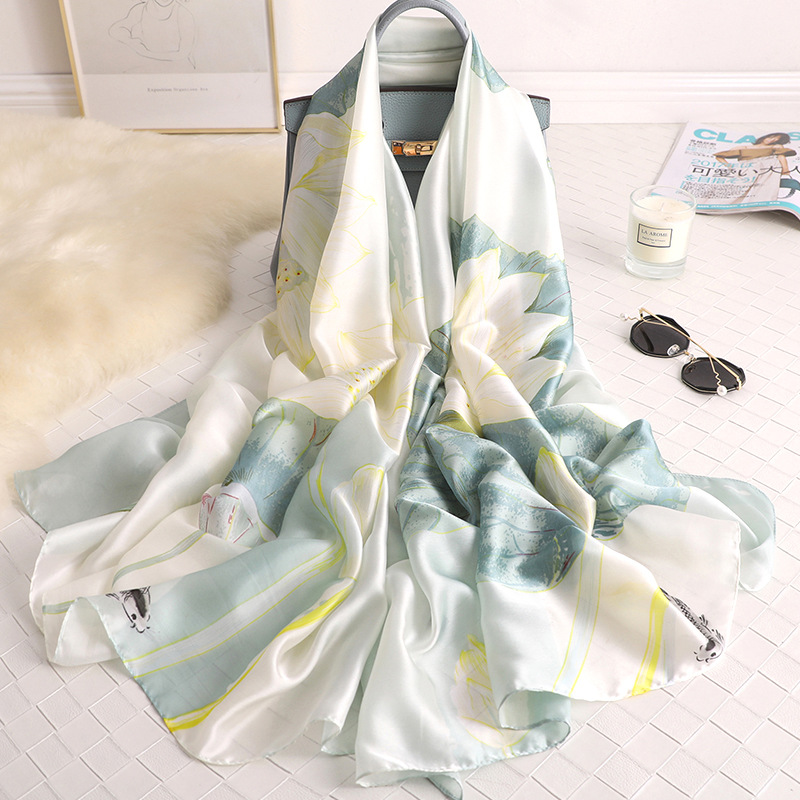 Lotus Flower Design Women Scarf Korea Style Holiday Shawl 2020 Hot Sale Scarf Easy Match