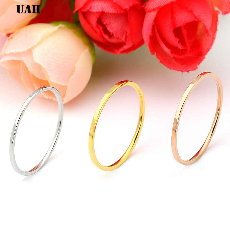 UAH Titanium Steel Rose Gold Anti-allergy Smooth Simple Wedding Couples Rings Bijouterie for Man or Woman Gift