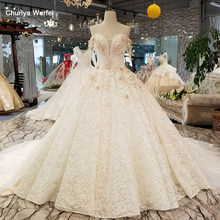 LS9545 off shoulder sweetheart wedding dress with handworking 3d flowers and crystal ball gown lace up bridal gown high quality(China)