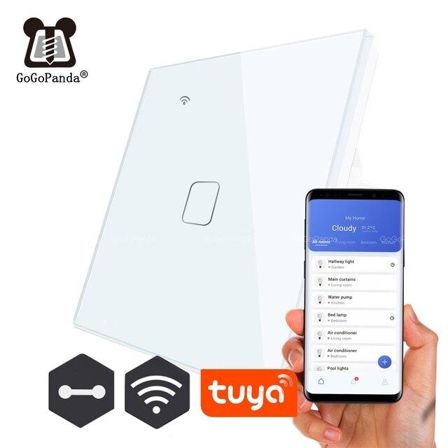 EU Standard 1 Weg Wifi Schalter Remote Voice Control Wand Licht Controller Smart Home Automation Touch Google Gome Tuya