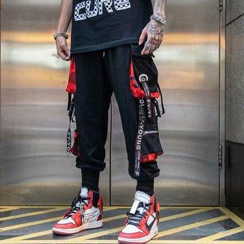 Men Hip Hop Black Cargo Pants Joggers Sweatpants Overalls Men's Ribbons Pockets Streetwear Harem Pants Man Fashions Trousers men hip hop joggers cargo pants black pocket patchwork ribbons men jogger harem pants fashions trousers hip hop streetwear