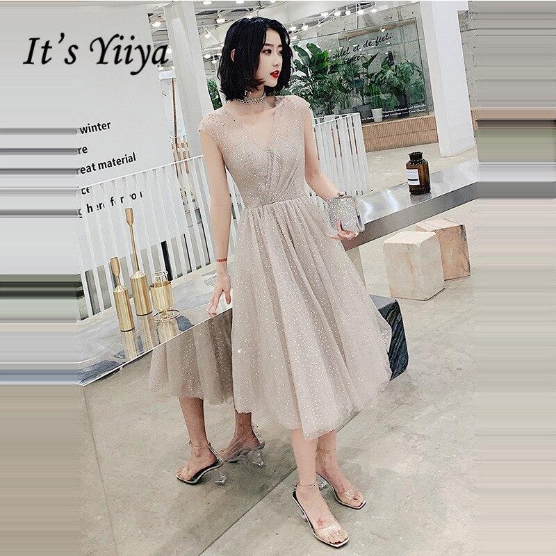 It's Yiiya Prom Dress Plus Size V-neck Shining Formal Gowns Elegant Tea Length Sleeveless Dresses Women Vestidos De Gala LF225