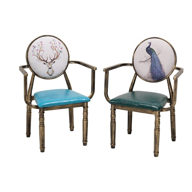 Iron Armchair Home Stool Backrest Restaurant  Snack Bar Manicure Cafe Tea Shop Tables And Chairs