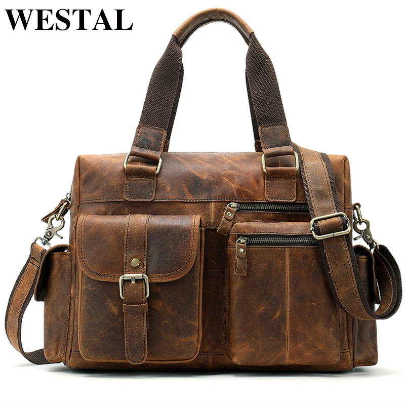 Briefcases Messenger-Bag Laptop Computer Documents 100%Genuine-Leather Handbags Casual