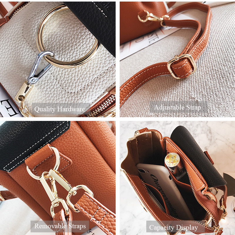 DORANMI Leather Women s Backpack Back Shoulder Bags 2019 Contrast Color Chain Rucksack Female Small Schoolbag DORANMI Leather Women's Backpack Back Shoulder Bags 2019 Contrast Color Chain Rucksack Female Small Schoolbag Mochila Mujer B077
