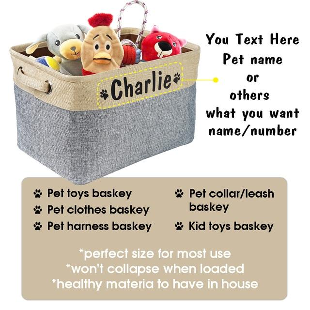 Personalized Pet Dog Toy Storage Basket Dog Canvas Bag Foldable Pet Toys Linen Storage Box Bins Dog Accessories Pet Supplies 2