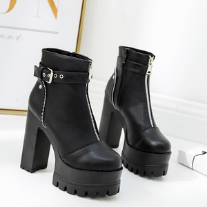 Image 4 - Gdgydh Fashion Zipper Platform Heels Women Ankle Boots Black Female High Heels Leather Shoes Round Toe Ladies Party Shoe Autumn