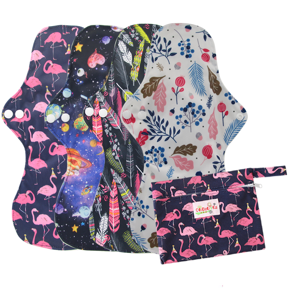 5Pcs ( 4+1Set )Heavy Flow Menstrual Pads Set Resualable Bamboo Charcoal Mum Cloth Pads Night Use