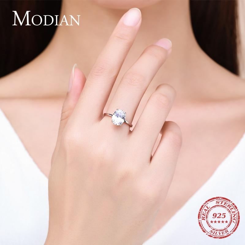 Modian basique 925 en argent Sterling grand luxe ovale coupe clair zircone bague pour les femmes fiançailles bague de mariage promesse anneau 2