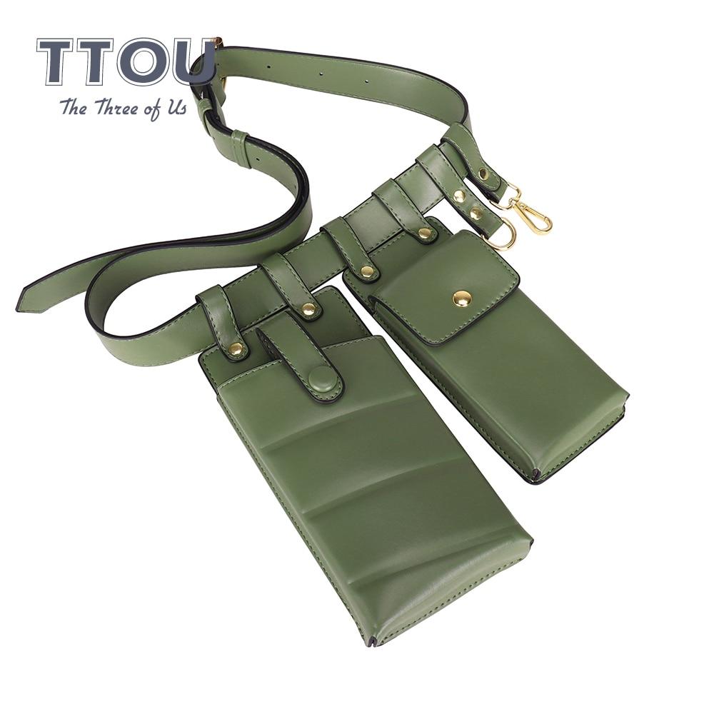 Herald Fashion Solid Waist Bag Leather Waist Belt Bag Women Crossbody Chest Bags Girls Fanny Pack Mini Phone Bag For Ladies