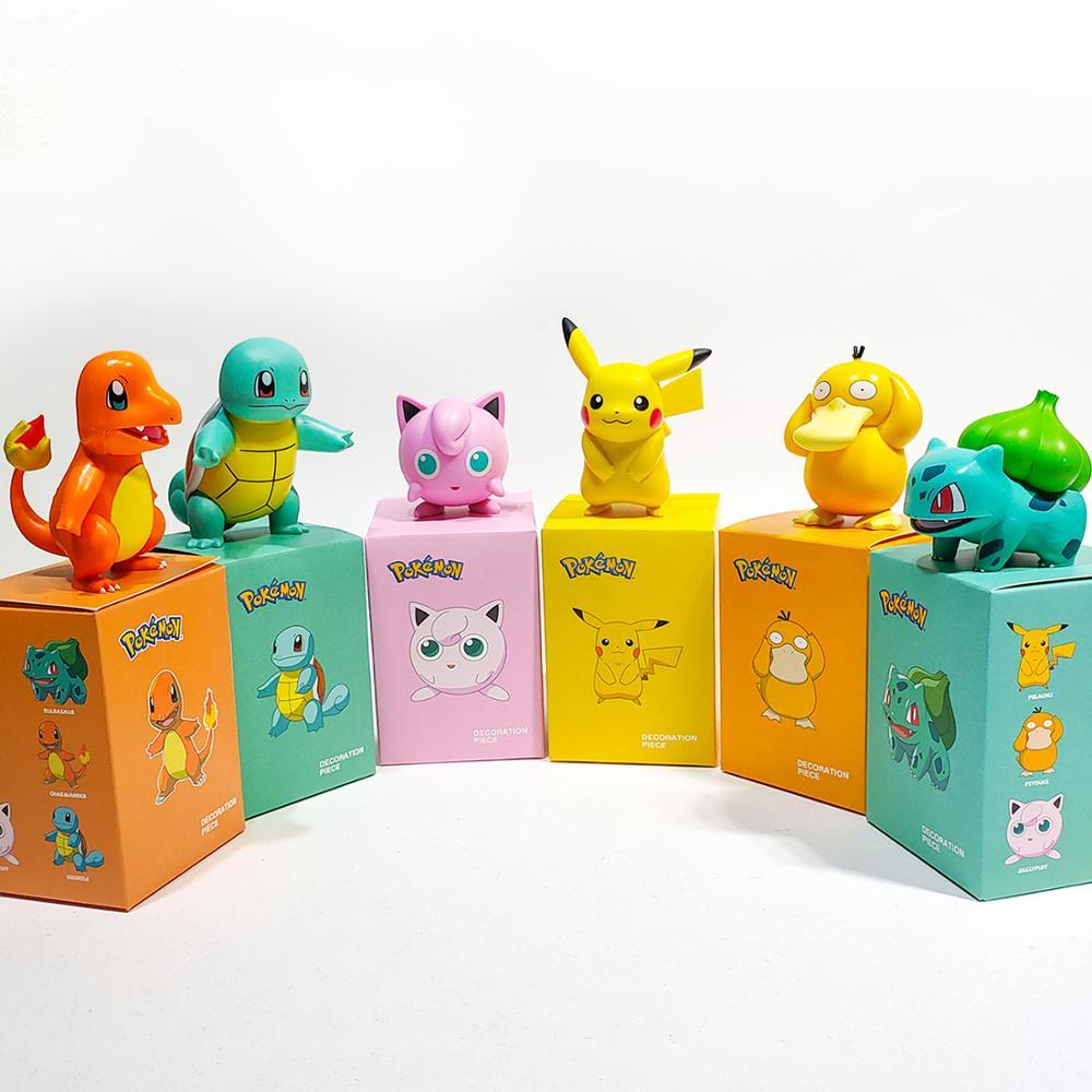 POKEMON Charmander Cleffa Pikachu Bulbasaur Squirtle Psyduck Pocket Monster Poké Model Action Figure One Piece Toy For Kids gift 4