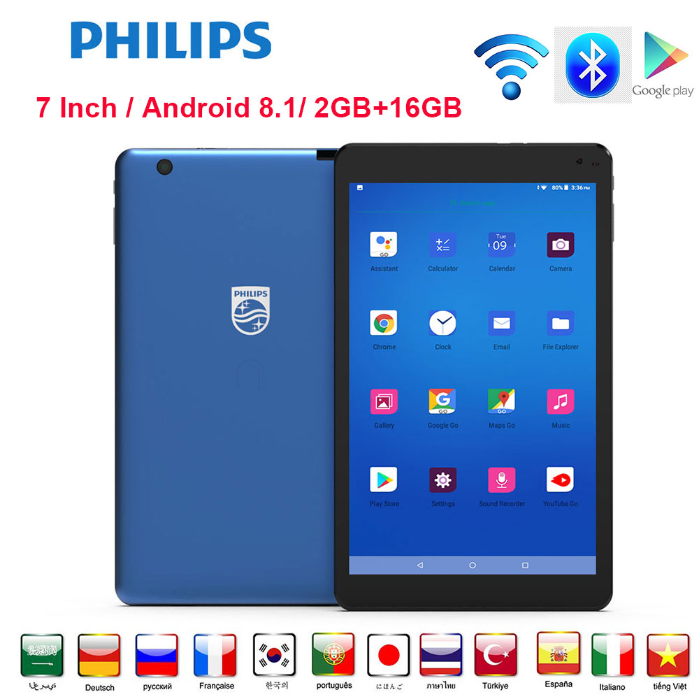 Philips Android Tablet 7 Inches WIFI 2GB RAM 16GB ROM Quad-Core Bluetooth 4.2v