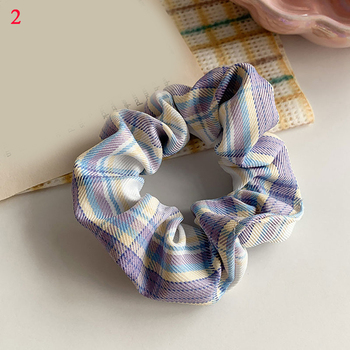 Women Vintage Plaid Sweet Hair Scrunchies Elastic Fashion Rubber Band Girls High Quality Ponytail Hair Accessories New Arrival image