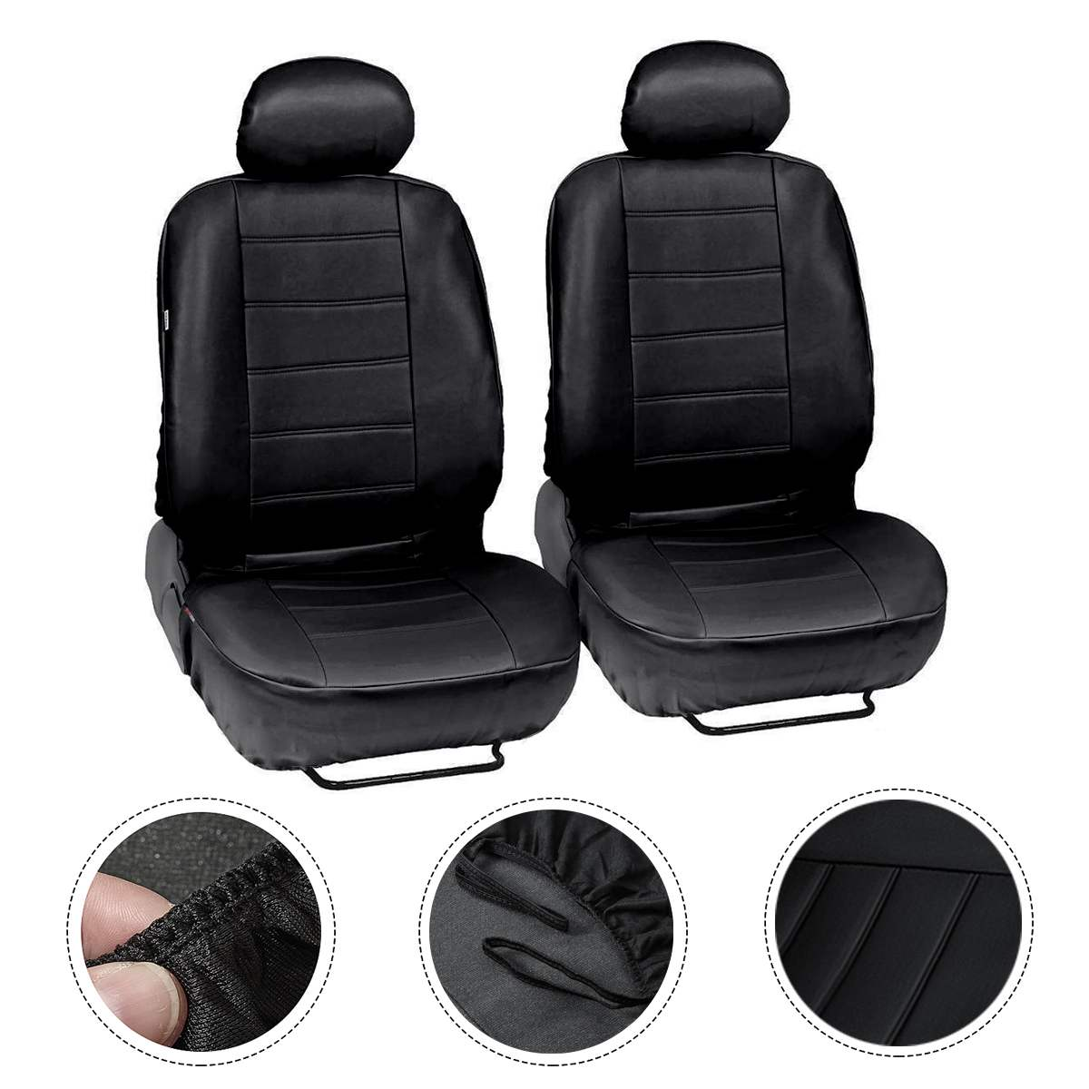 New Luxury PU Leather Car Seat Cover Wear-resistant Anti-static Easy To Clean Car Universals Seat Cover Car Interior 4/9 Sets