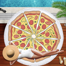 купить Simanfei Round Beach Towel Pizza Microfiber With Tassel Printed Shawl Blanket Yoga Mat Carpet Gourmet Towel Blanket по цене 1106.58 рублей