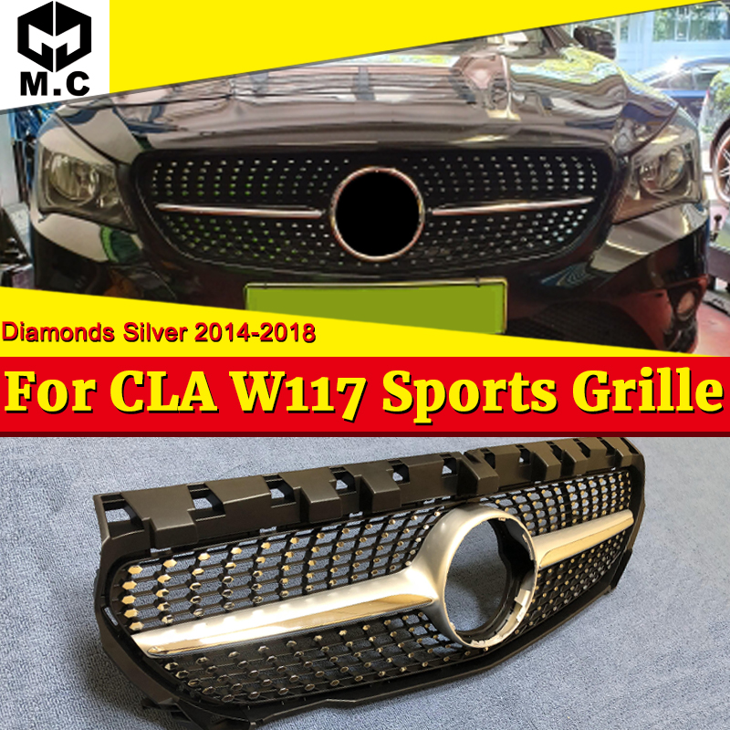 W117 Diamonds Front Grille Grill ABS Silver For CLA-Class Cla180 Cla200 Cla250 Cla45 Without Sign Look 2014-in