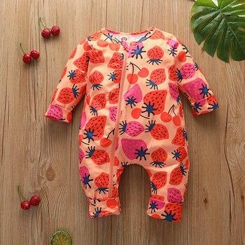 2020 new spring and autumn baby children zipper strawberry long-sleeved long romper fruit bodysuit