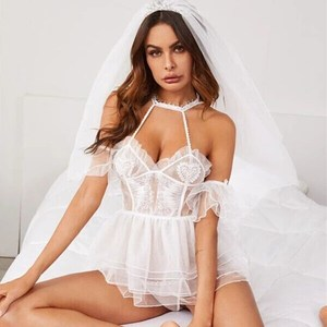 Women Erotic Lingerie Cosplay Bride Wedding Dress Uniform Sexy Lingerie Hot Erotic Porno Babydoll White Wedding Lingerie Costume