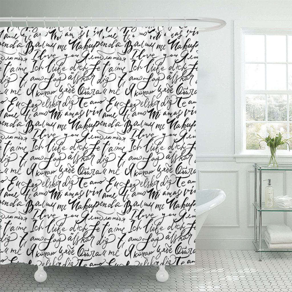 french i love you lettering in different languages vintage shower curtain polyester fabric 72 x 72 inches set with hooks