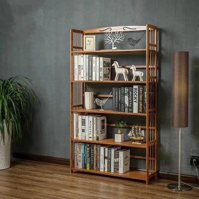 Living Room Shelves Solid Wood Bookshelf Elegant Book Display Rack Standing Kitchen Storage Book Magazine Organizer CD Holder