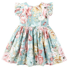 Children's clothing girls dress summer western style new cute and beautiful flying sleeve toddler girls print dresses