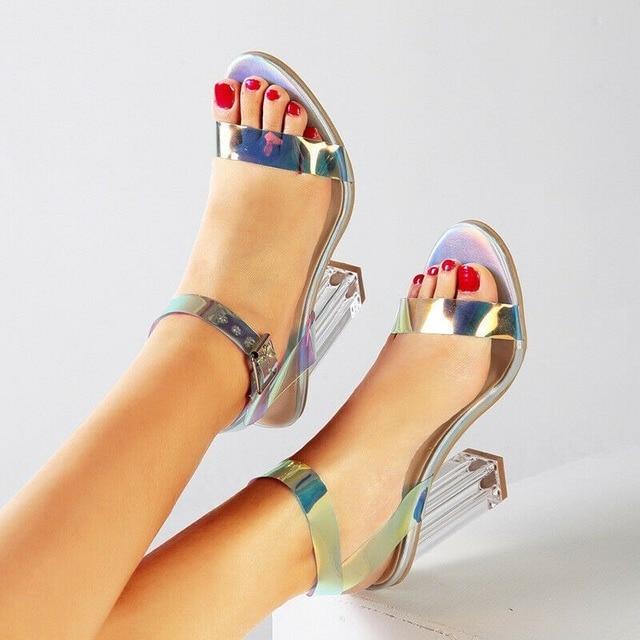 2020 Summer New Ladies Elegant Block Super High-heeled Sandals Dazzle Colorful Slingback Womens Transparent Heel Shoes Plus Size Uncategorized Fashion & Designs Ladies Shoes Women's Fashion