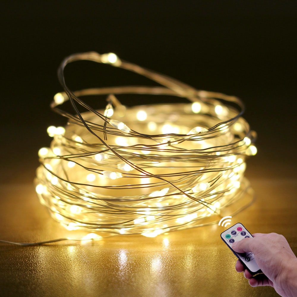 5m 10m 20m Flash LED Fairy Light Remote Control String Lights Battery-powered Garland Bedroom Home DIY Decoration Wedding Party
