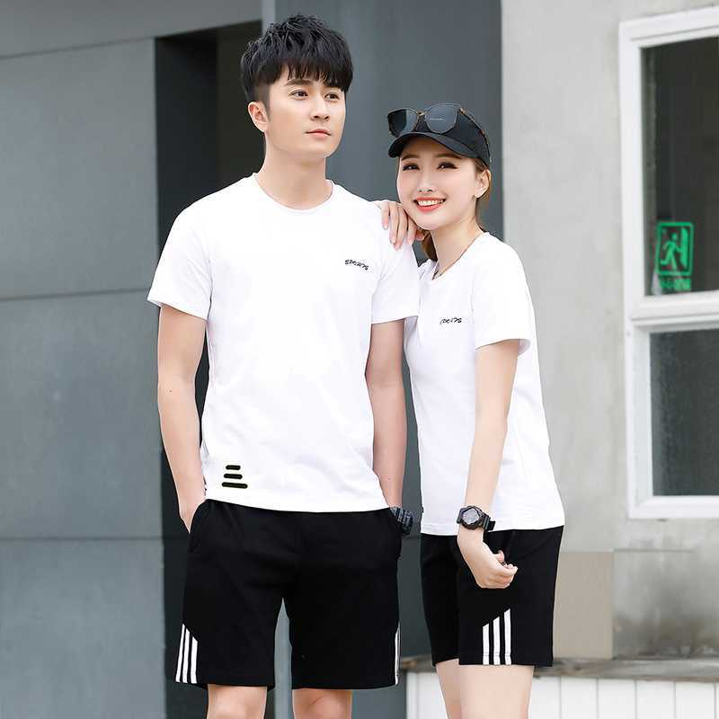 Summer New Style Men And Women Couples Leisure Sports Suit 95 Pure Cotton Short Sleeve Shorts Running Fitness Sports Clothing