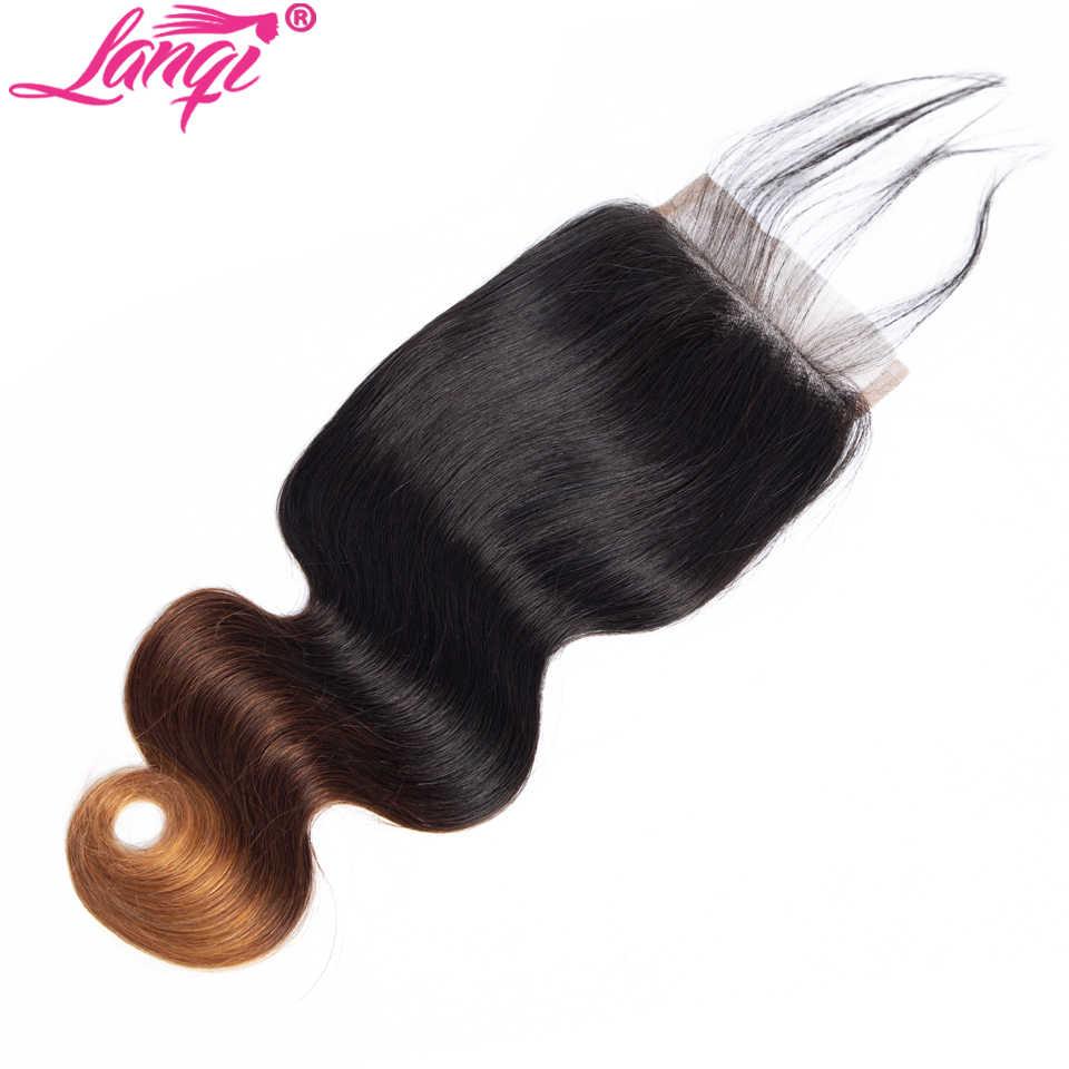 lanqi Brazilian body wave 4x4 Top Lace Closure Non Remy 1b/4/27 99j Burgundy blonde Ombre peruvian Human Hair Swiss Lace closure