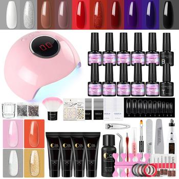COSCELIA Poly Gel Set con Gel esmalte de uñas manicura Set para extensión de uñas UV lámpara Led secadora eléctrica Kit de herramientas de decoración de uñas