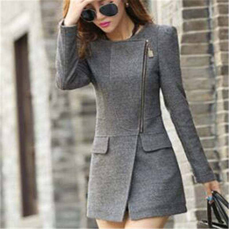 2020 new Ladies coats cashmere star Slim coat large size jacket women tops spring autumn female overcoat lapel Cardigan zipper