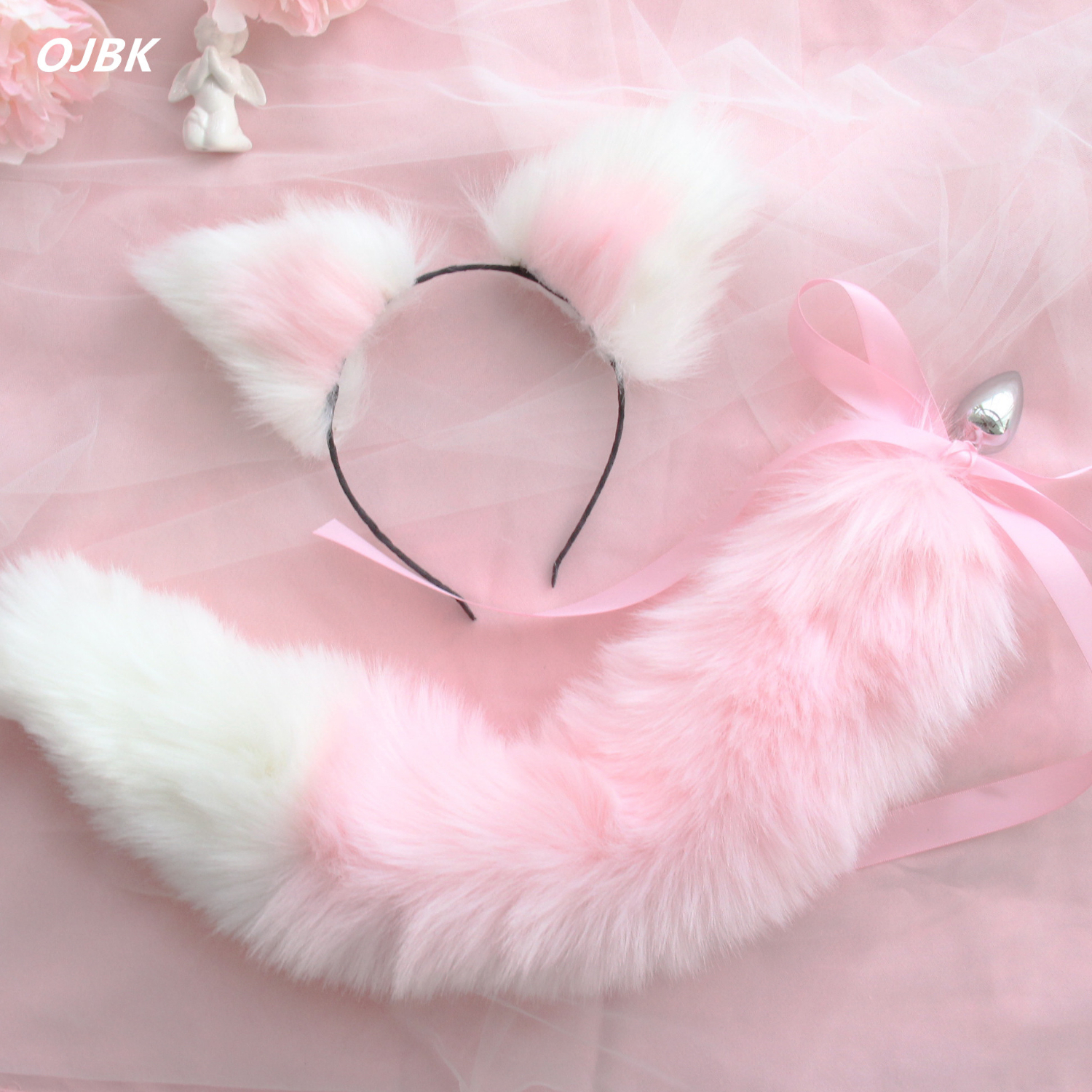 Cute Soft <font><b>Cat</b></font> ears Headbands with Fox Tail Bow Metal Butt Anal Plug Erotic Cosplay Accessories Adult <font><b>Sex</b></font> <font><b>Toys</b></font> for Couples image