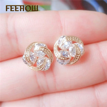FEEHOW 2019 New High Quality Flower Cubic Zircon Earrings Crystal Crown Ladies Wedding Gift Party Jewelry FWEP2310