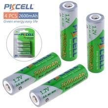 Pkcell 4 pièces 1.2V AA R6 Ni-Mh 2600mAh LSD Batteries rechargeables haute capacité Batteries préchargées avec 1200 Cycle