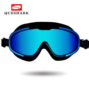 Nowa przeciwmgielna UV duża ramka męskie damskie gogle pływackie dorośli Sport wodoodporne silikonowe nurkowanie okulary pływackie okulary pływackie tanie i dobre opinie QUESHARK 45mm MULTI 125mm Z poliwęglanu Octan A-FF210
