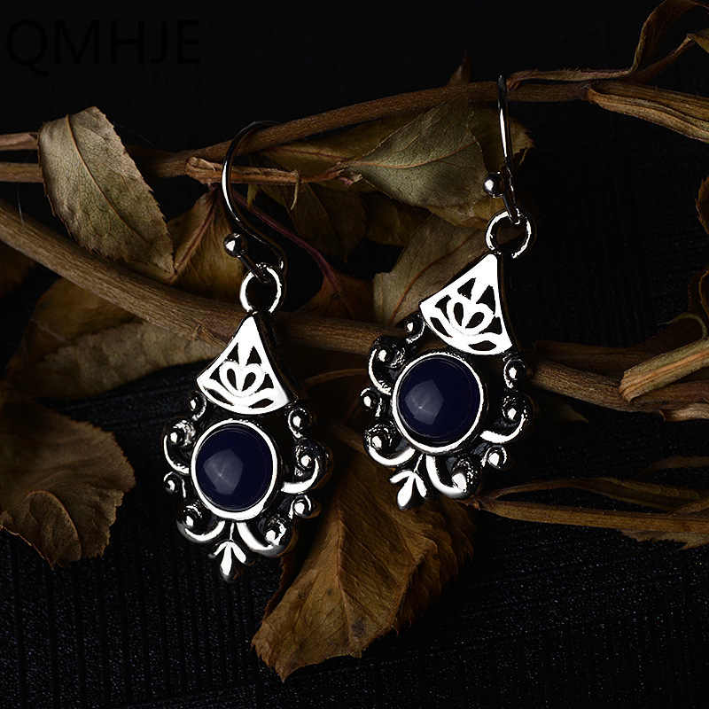 Boho Round Royal Stone Women Small Dangle Earrings Hollow Out Flower Earring Ethnic Vintage Indian Jewelry Silver Color DBE048
