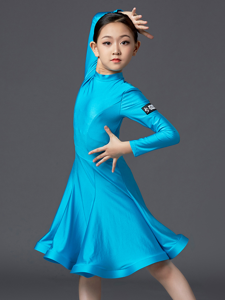 Girls Latin Dance Dresses Fishbone Skirts Ballroom Tango Skirt Kids Salsa Performance Competition Costumes Practice Wear DQS3051