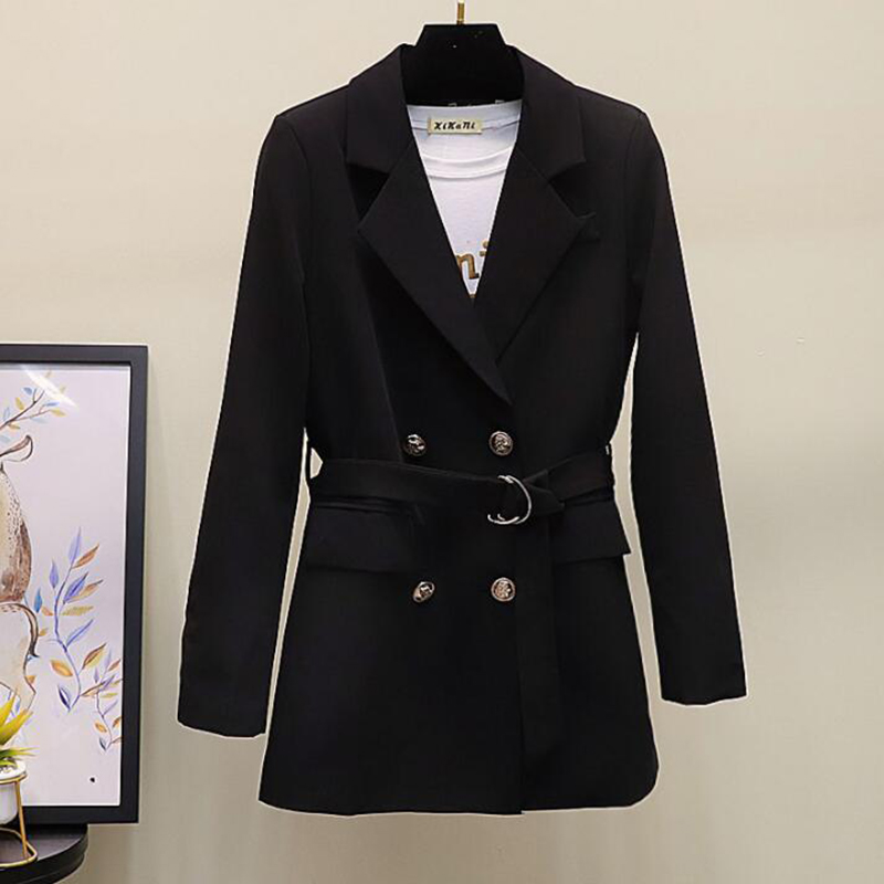 Винтажный двубортный черный Блейзер, женский пиджак 2019 весна осень Повседневный ремень женские костюмы Пальто Feminino блейзеры верхняя одежд...