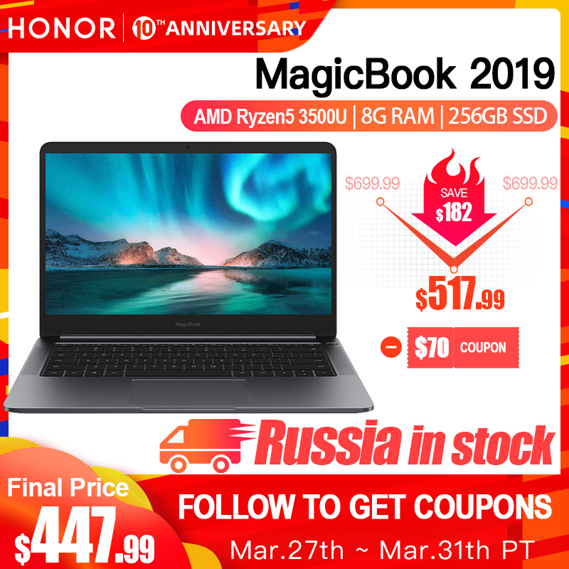 HUAWEI HONOR MagicBook 2019 Laptop komputer przenośny 14 cali AMD Ryzen 5 3500U 8G 256/512GB PCIE SSD FHD IPS laptopy ultrabook title=