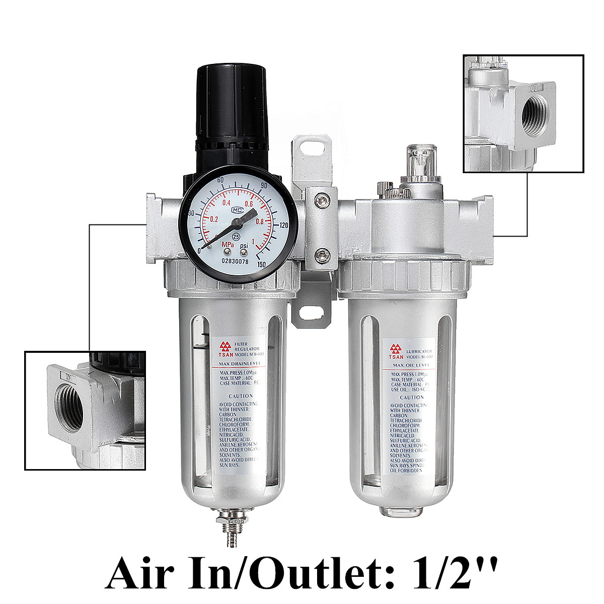 SFC200 SFC400  Air Compressor Moisture Water Oil Lubricator Trap Filter Regulator With Connection Pneumatic Parts