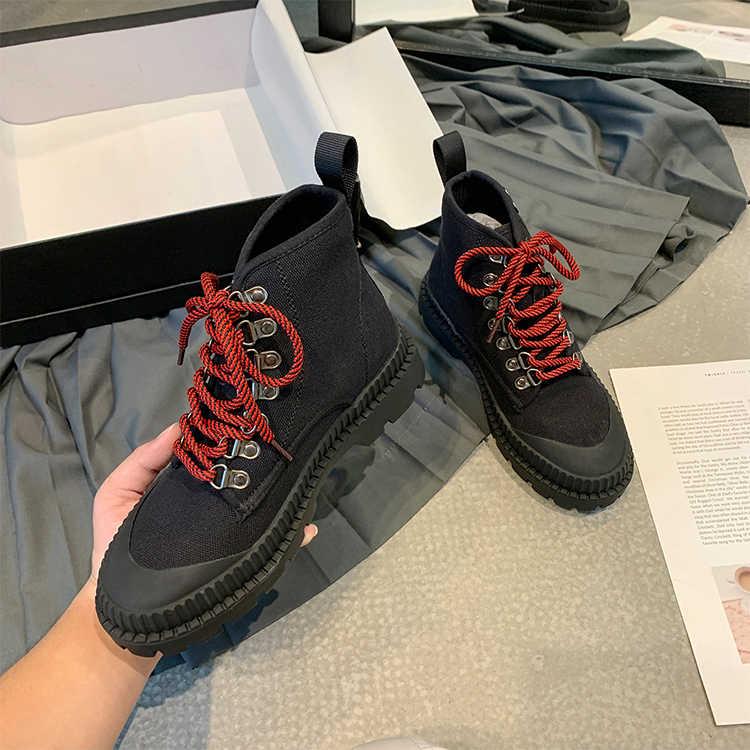 Platformu çizmeler kadın sonbahar kısa Botas Mujer bağcıklı ayakkabı kadınlar pist Botines Mujer yarım çizmeler moda yüksek Top ayakkabı