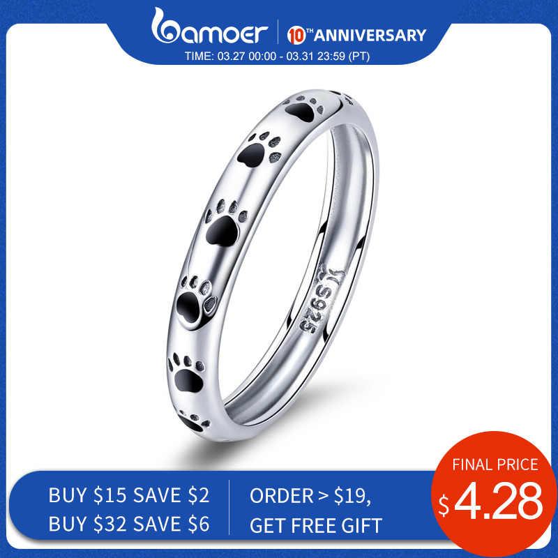 BAMOER 925 Sterling Silber Stapelbar Hund Katze Fußabdrücke Finger Ringe für Frauen Hochzeit Ring Schmuck Valentinstag GESCHENK SCR445